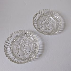 Vintage crystal fruit design plate set